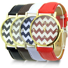 Unisex Woman Man Casual Stripes Faux Leather Analog Quartz Wrist Watches