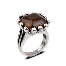 Vogue Wedding Party Jewelry Tibetan Silver Square Top Jade Ring Gift 4 Colors