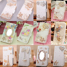 """Crystal Butterfly Flower Wallet Leather Case Cover For Iphone 6 4.7"""" Plus 5.5"""""""