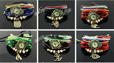 Plaited colorful PU leather wrist watch w/ anime metal pendant for One Piece etc