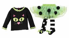 Mud Pie Girl Halloween Holiday Treat or Trick Cat Tutu Tight Set + Free HB