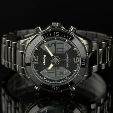 Mens Chronograph Army Date Day Dual Digital Alarm Sport Wrist Watch Stainless