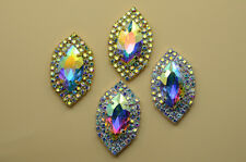 5 pcs OVAL AB Crystal Rhinestone Costume Dress Applique Sewing On Button A419