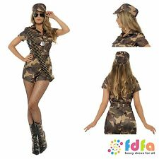 CAMO SEXY ARMY GIRL JUMPSUIT & HAT - all sizes 8-14 - womens fancy dress