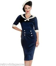 Hell Bunny Sandra Dee Sailor Pinup Wiggle 1940's Dress Rockabilly Vintage Retro