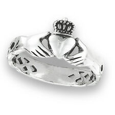 Sterling Silver Claddagh Cladagh Claddaugh Ring w Celtic Knot Band Size 6-10