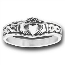 CELTIC Stainless Steel Claddagh Claddaugh Ring Jewelry w Knotwork Size 5-10