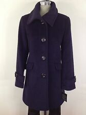 Ellen Tracy Womens NWT Plum Wool blend Single breasted Coat size 6-14