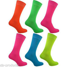 Pair of Womens/Ladies BRIGHT NEON SOCKS Fancy Dress Various Colours Size 4 to 8
