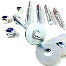 M6  WOOD TO METAL DOWELS + NYLOC NUT + WASHER FURNITURE FIXING SCREWS ZINC BZP