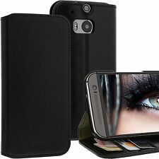 Blumax® Genuine Real Leather Flip Wallet Slim Fit Case Cover for HTC One M8 2014
