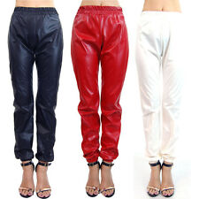 NWT New Faux Leather Vinyl Slick Chic 11392 Jogger Pants Black Ivory Red S M L