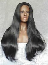 EURO BEAUTY Long Thick No Bangs Black,Brown,Blonde Full Synthetic Wig Wigs -#29