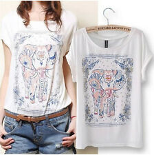 Fashion Women Short Sleeve Basic T-Shirt Blouse Summer Elephant Print Tops Tees