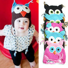 1PC Cute Toddler Baby Girls Boys Owls Crochet Knitted Cap Ear Hat Beanie