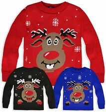 Kids Christmas Jumper Boys Girls Knitted Rudolph Reindeer Sweater Age 3-13 Years