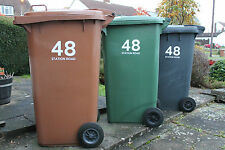 8 x WHEELIE BIN NUMBERS CUSTOM HOUSE AND ROAD/STREET NAME VINYL GRAPHIC STICKERS