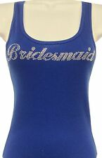 RHINESTONE (BRIDESMAID) NAVY BLUE TANK TOP SHIRT SIZE:S,M,L,XL, FREE SHIPPING