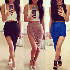 New Trend High Waisted Draped Asymmetric Stretch Low Mini Skirt Wrap Skirt Dress