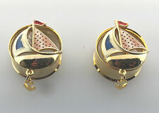 "Famous Steel Cut Golden Sail Boat Dangle Anchor Ear plugs Sizes:( 2 g - 1""inch )"
