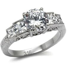 New Stainless Steel 3Ct Solitaire CZ Filigree Engagement Ring - Sizes 5-10