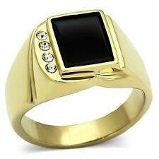 New Gold IP Stainless Steel Onyx Black Rectangle Classic Men's Ring - Sizes 8-13