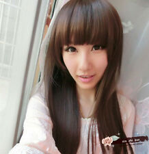 Anime Cosplay Party Women Lady Elegant Long Straight Hair Full Wigs With Bangs
