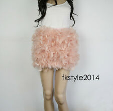 Lady Women Real Ostrich Feather Hair Mini Skirts Party Club