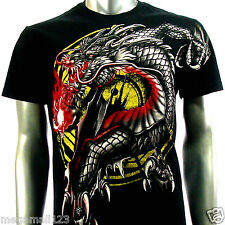 Artful Couture T-Shirt  Sz M L XL XXL Tattoo Fire Dragon Yin Yang Japanese AB68