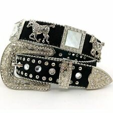 New Western Horse Concho Berry Rhinestone Concho Belt Black Horse Hair S M L XL