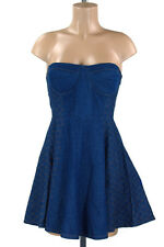 NWT Quilting Stitched Denim Strapless Padded Bra Non Slip Taped Skater Dress