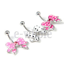 Fashion 14G 3 Colors Enamel Bow Shape Belly Ring No-Dangle Navel Button
