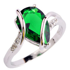 Art Decco Emerald Quartz Gems Silver Jewelry Men Women Ring Size 6 7 8 9 10