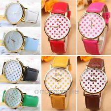 Vogue Boy Girl PU Leather Small Dots Big Dial Quartz Sports Wristwatch MB70