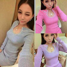 NEW WOMEN LONG SLEEVE MINI DRESS WARM KNIT SLIM TUNIC SWEATER DRESS PULLOVER TOP