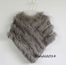 Classic Lady Women Real Rabbit Fur Raccoon Fur Knit Triangular Shawl Cappa