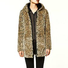 Sexy Winter Warm Hooded Leopard Print Faux Fur Coat Jacket Outerwear M L XL