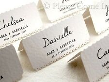 Personalized White Scalloped Wedding Place Cards/Escort Cards