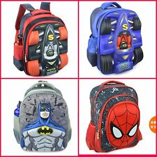 New Kids Boys 3D F1Racing Car Spiderman Batman backpack school Bag H40*L29*W13cm