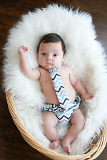 Diaper Cover and Tie Set Chevron Baby Boy Photo Prop Cake Smash Outfit Blue Gray
