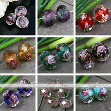 10pc Foil Flower Faceted Murano Lampwork Glass Loose Beads Fit Jewelry DIY Gift
