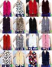 Winter womens Real rabbit fur scarf shawl stole Collar Scarves cape Wrap Muffler