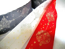 1 mtr 40mm QUALITY,WIRED CHRISTMAS RIBBON,RED,IVORY,GREY GOLD / SILVER OVERPRINT