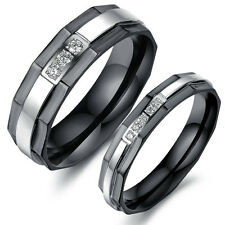 Fashion Cubic Zirconia Couple Wedding bands set Stainless steel Engagement rings
