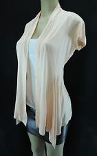 AMBIANCE Womens Rayon Tie Wrap Cardigan Short Sleeve Cover Up Nude Peach S M L