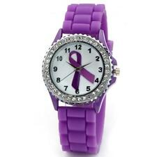 GENEVA Silicone Ribbon Wrist Watch Purple Pancreatic Cancer Awareness Jelly