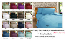 Percale 225TC Plain Dyed Fitted Sheet All Bed Sizes - Multi Colors