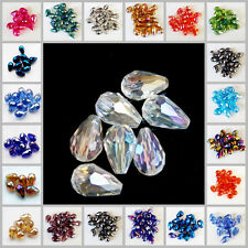 Wholesale 100pcs Faceted Teardrop Glass Crystal Charm  Loose Spacer Beads 8x12mm