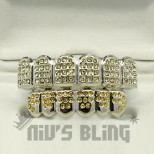Iced Out Silver GRILLZ Lemonde CZ Premium Tooth Mouth Teeth Caps Hip Hop Grills