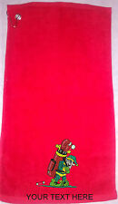 Personalised Christmas Elf Golf Towels Stocking Filler Prize Gift Fun Any Slogan
